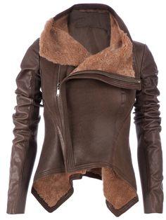 Rick Owens leather jacket with sheepskin lining