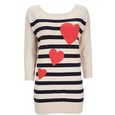 Stone Stripe And Heart Print Sweater ($46) ❤ liked on Polyvore