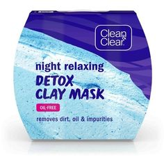 Night Relaxing Detox Clay Face Mask | CLEAN & CLEAR® ❤ liked on Polyvore featuring beauty products, skincare, face care, face masks, mud face mask, mud mask, clay mask, clay face mask and facial clay mask