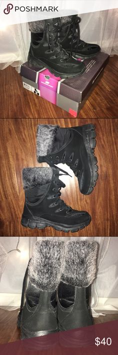 Skechers Sport Winter Boot- 8 Selling for my mom- worn one time, not her style- bought on a whim. 😂 black boot with salt and pepper colored fur on top. Soles need to be cleaned, but other than that, no flaws!! Comes with box! Skechers Shoes Winter & Rain Boots