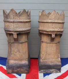 Antique King Crown Victorian Chimney Pots £150 the Pair www.colonialsoldier.com