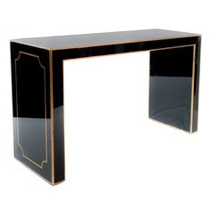 Black Glass Console Table    20th Century  This is a fantastic piece! Console made of black glass and gilded wood details.