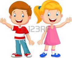 niños felices caricatura: Los niños lindos dibujos animados agitando la mano