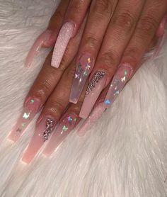 How to easily remove the semi-permanent nail polish? - My Nails Aycrlic Nails, Bling Nails, Hair And Nails, Coffin Nails, Pink Coffin, Best Acrylic Nails, Acrylic Nail Designs, Nail Designs Bling, Light Pink Acrylic Nails
