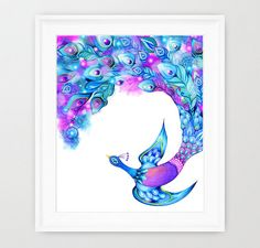 Peacock Feather Fantasy Watercolor Bird Wall Art by AnnyaKaiArt