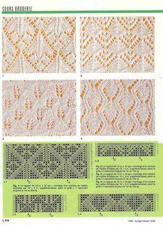 Corso Trico vari punti Plus Lace Knitting Patterns, Knitting Stiches, Knitting Charts, Lace Patterns, Loom Knitting, Crochet Stitches, Hand Knitting, Stitch Patterns, Filet Crochet