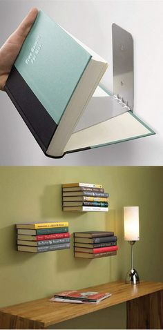 cool hidden shelf, looks like floating books