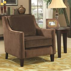 Coaster Accent Seating Accent Chair w/ Basket-Weave Microvelvet - Coaster Fine Furniture