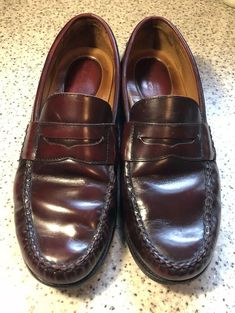 e030f1bdae9 JOHNSTON  amp  MURPHY Signature Series Mens Brown Leather Moc Toe Penny  Loafers 10 M