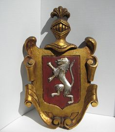 Vintage Heraldic Coat Of Arms Carved Gilded by TallTimberAntiques, $85.00