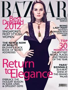Michelle Dockery for Harper's Bazaar Singapore December 2012 Cover