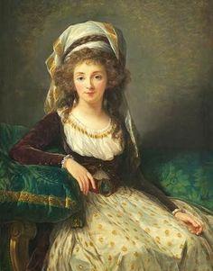 Elisabeth Vigée-Lebrun, Marquise de Aguessenau wearing a robe a la turque 1789