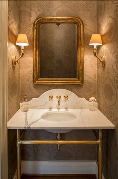 Powder Room Ideas. I love the wallpaper in this powder room. Subtly chic! #PowderRoom #Wallpaper #HomeDecor