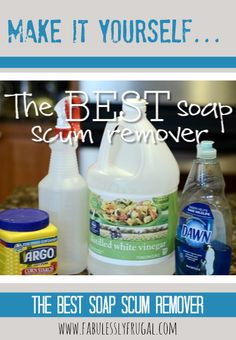 This is truly THE BEST soap scum remover.  It works great and you probably have all 3 ingredients in your cupboard!
