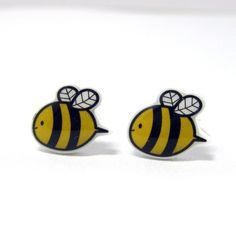Bumble Bee Earrings  Yellow Black Sterling Silver by TheTinyFig, $15.00