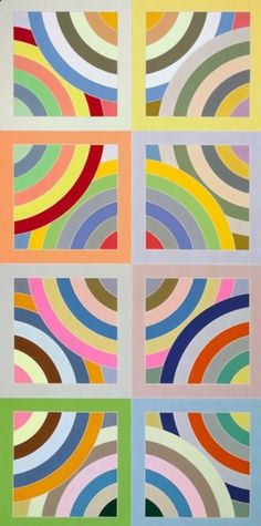 Abstract painting by Frank Stella. Geometric circles and colors. Mondrian, Frank Stella Art, Famous Abstract Artists, Modern Art, Contemporary Art, Post Painterly Abstraction, 3d Foto, Hard Edge Painting, Ecole Art