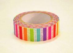 Rainbow Striped Japanese Washi Tape Rice Paper Tape Masking Tape - 10m