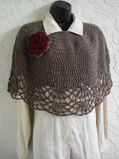 hand crochet Capelet Shawl poncho Shoulder Wrap