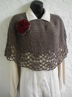 hand crochet Capelet Shawl poncho Shoulder Wrap