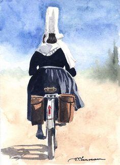 Bretonne à vélo Office Essentials, Watercolor Sketch, Brittany, Images, Darth Vader, Artwork, Human Figures, Fictional Characters, Biking
