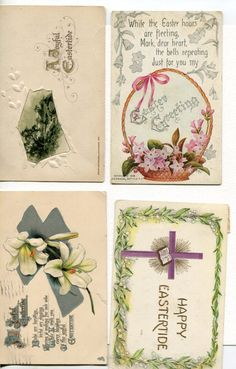 Easter Postcards Grab Bag #20. Lot of 4 vintage postcards, Easter Lilies, chicken, passionflower, cross