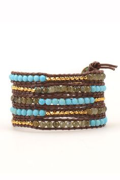 Wrap Bracelet - Turquoise and Labradorite on Brown Leather | Talulah Lee