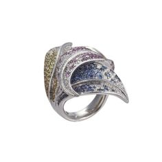 Salavetti 18K White Gold Leaf Ring with Tricolor Sapphire & Diamonds (=)