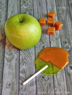 make your own caramel pops using green apple jolly ranchers.  love caramel apples!!!