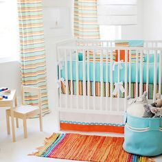 Sante Fe Crib Bedding Set from Rosenberry Rooms. Saved to Crazy For Color. Shop more products from Rosenberry Rooms on Wanelo. Baby Crib Bedding Sets, Crib Sheets, Nursery Bedding, Baby Cribs, Girl Nursery, Aqua Nursery, Chevron Baby Bedding, Chevron Fabric, Blue Fabric