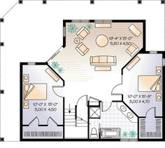 Cottage Style House Plan - 3 Beds 2 Baths 1992 Sq/Ft Plan #23-421 Floor Plan - Lower Floor Plan - Houseplans.com