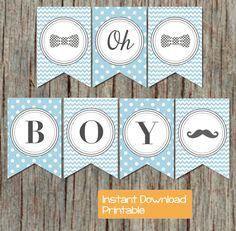 Boy oh Boy Baby Shower Banner Little Man Mustache Party by BumpAndBeyondDesigns, $6.00