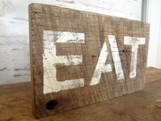 Rustic Barn Wood Eat Sign Handmade primitive farm house antique vintage cottage style shabby chic kitchen wall decor gift photo prop on Etsy, $10.00
