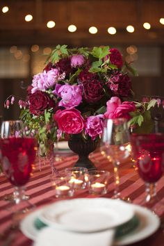 Pink and purple pionies centerpiece.