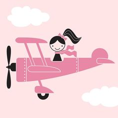 Airplane Girl - Removable Vinyl Wall Decals, Wall Stickers, Wall Art, Wall Graphics for Nursery, Baby, Kids