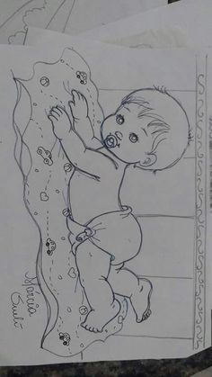 baby laying on blanket Baby Embroidery, Embroidery Patterns, Quilt Patterns, Baby Painting, Fabric Painting, Diy Baby Gifts, Baby Drawing, Baby Sewing Projects, Pencil Art Drawings