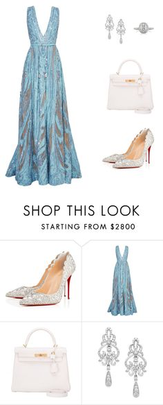 """Untitled #222"" by nadiralorencia on Polyvore featuring Christian Louboutin, Elie Saab, Hermès, Wrapped In Love and Mark Broumand"