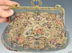 Charming Antique French Floral Petitpoint Clasp Purse