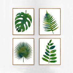 Botanical Print Set, Botanical Watercolor, Fern Leaf Print, Nature Watercolor Print, Green Wall Art, Boho Decor Botanical Art Large Wall Art