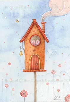 Home Sweet Home ACEO Card Original OOAK by thecurioustreehouse, £6.00