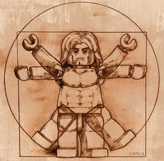 Vitruvian Minifig by Kevinhink, via Flickr LOVE it.... #lego #davinci #vitruvianman