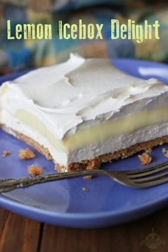 Lemon Icebox Delight - all the great flavor of a Lemon Icebox Pie, but the crust is what really makes it special. It's almost toffee like.