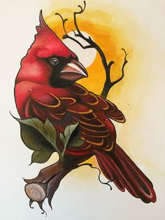 Cardinal by Candy Cane Red Feathered Bird Artwork Canvas Art Print