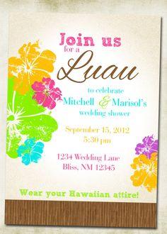 Hawaiian Wedding Theme   Luau Hawaiian Themed Invitation by elenasshop on Etsy
