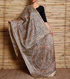 Multicoloured Madhubani Painted Tussar Silk Dupatta