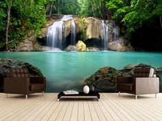 Waterfall in Kanchanaburi, Thailand wall mural room setting
