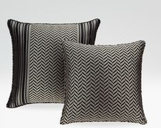 Armani amazzone  Cushion cover in striped fabric insert in chevron pattern jacquard fabric, Cushion cover in chevron pattern jacquard fabric with back in striped fabric, made in Italu