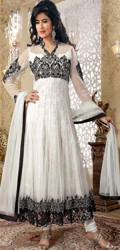#Black and Off White #Net Anarkali Suit