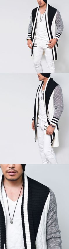 Stripe Contrat Drape Chunky Shawl-Cardigan 117 - GUYLOOK