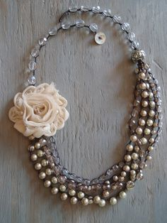 ❥ multi-layered hand knotted pearl crocheted statement necklace