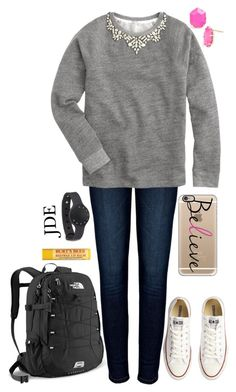 """School"" by jane-dodge ❤ liked on Polyvore featuring Anine Bing, J.Crew, Converse, Kendra Scott, Casetify and The North Face"